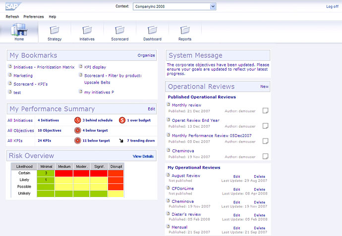 Screenshot of risk heat map embedded in SAP Strategy Management